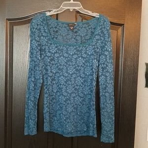 New Peacock blue long sleeved stretchy lace top